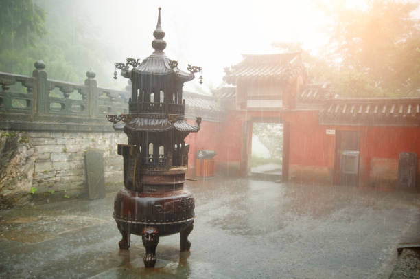 Old Temple Incense in the old chinese temple taoism stock pictures, royalty-free photos & images