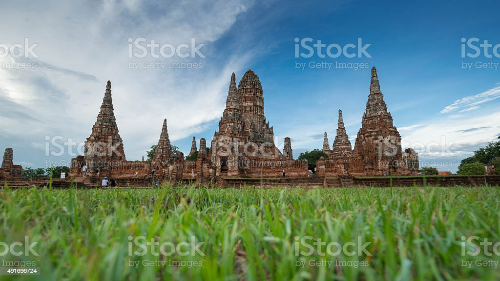 Old temple, Wat Chai Watthanaram Ayuthaya, Thailand stock photo
