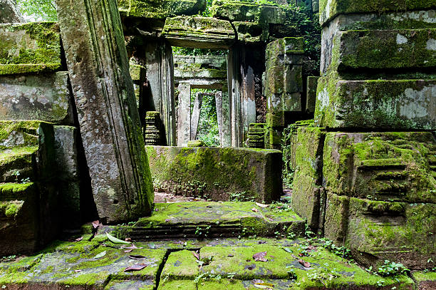 旧市街の寺院にはジャングル、アンコール、シエムレアプ(カンボジア) - 遺跡 ストックフォトと画像