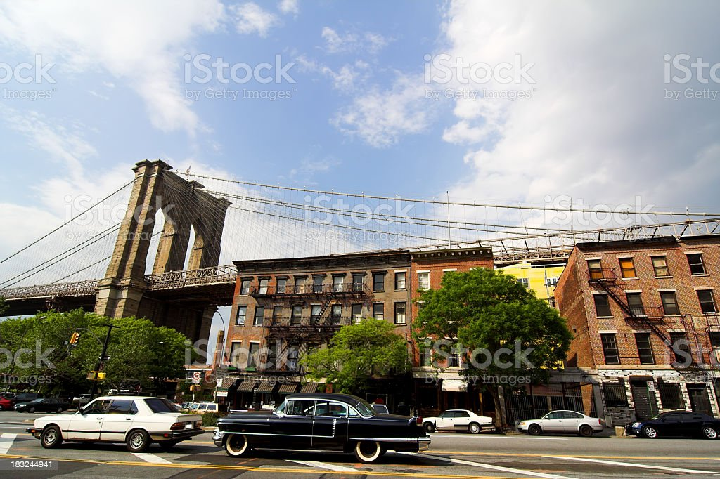 Old Tenement Block in Brooklyn stock photo