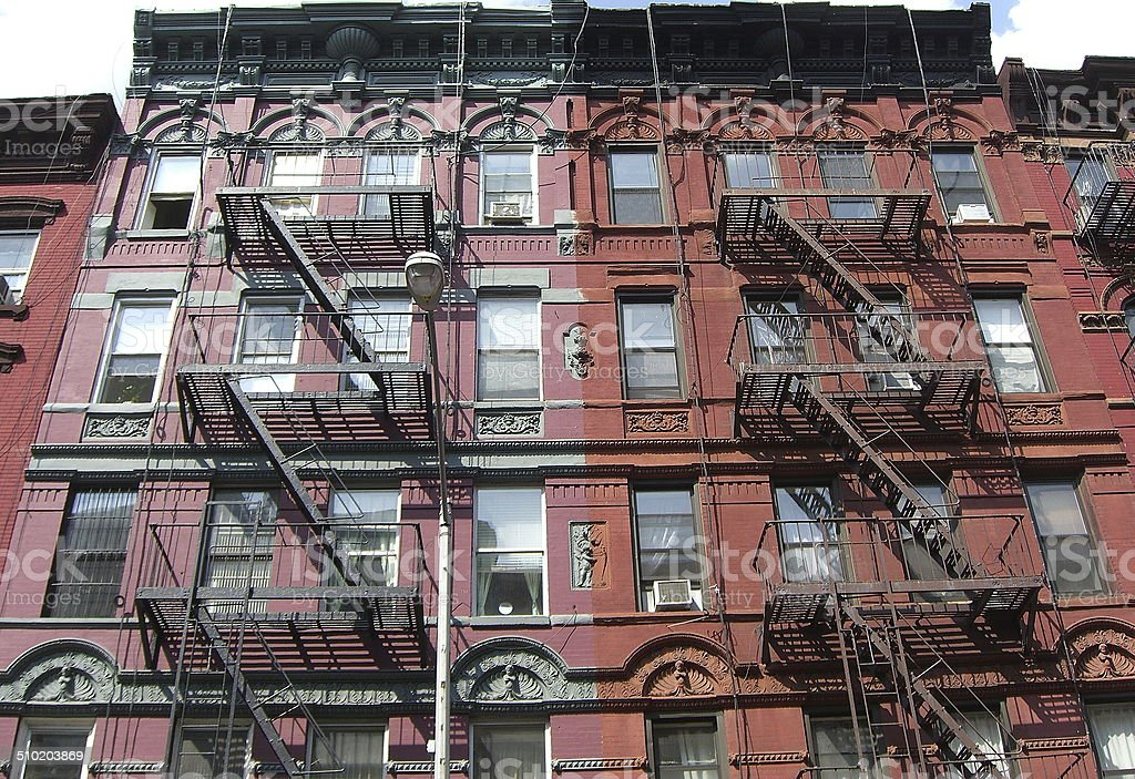Old tenement buildings on the lower east side of Manhattan stock photo