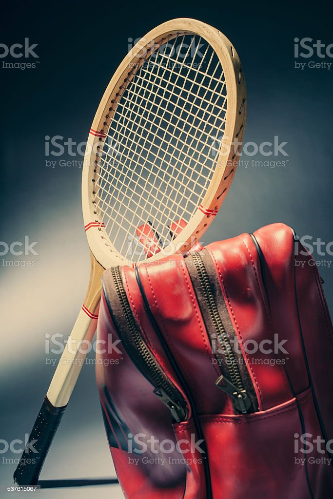 Old tennis racket and bag stock photo