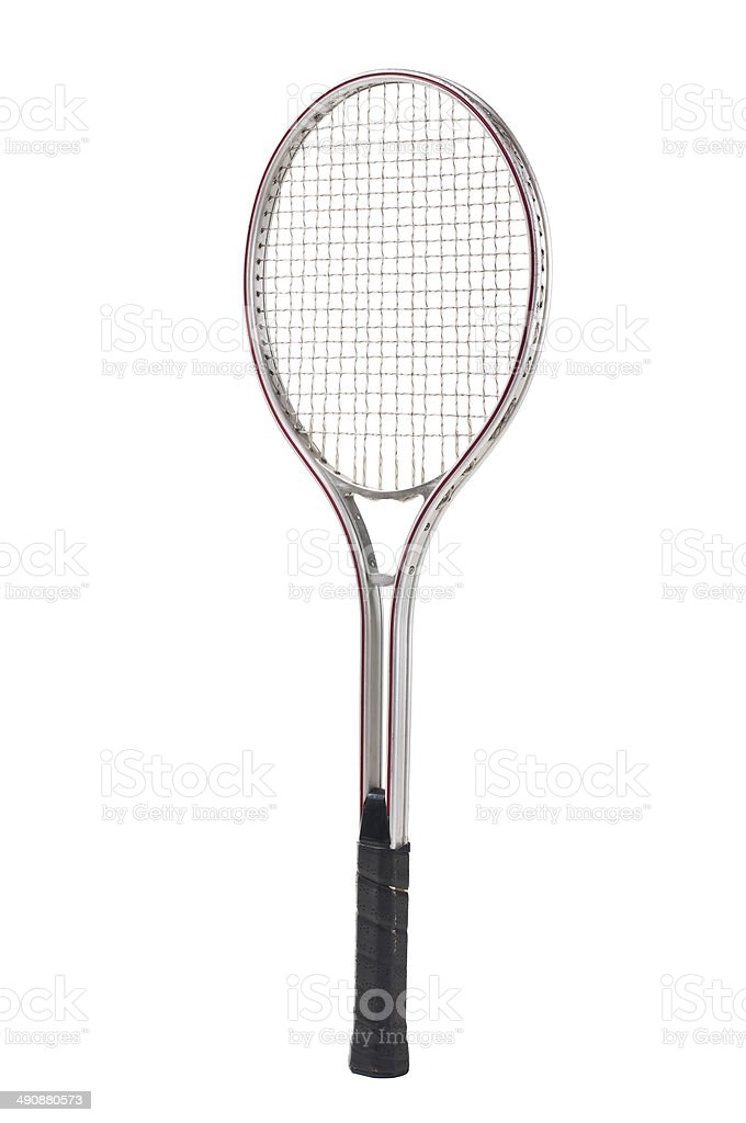 Old tennis racket isolated on white. stock photo