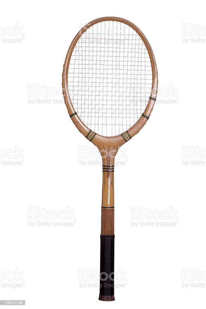 old tennis racket stock photo