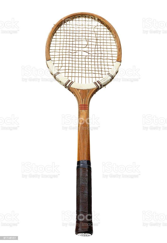 old tennis racket with broken srings stock photo