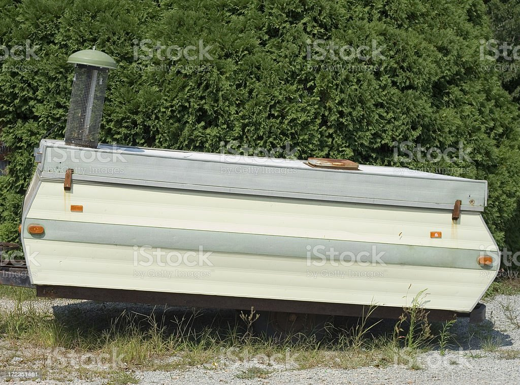 Old Tent Trailer By Side Of Road royalty-free stock photo