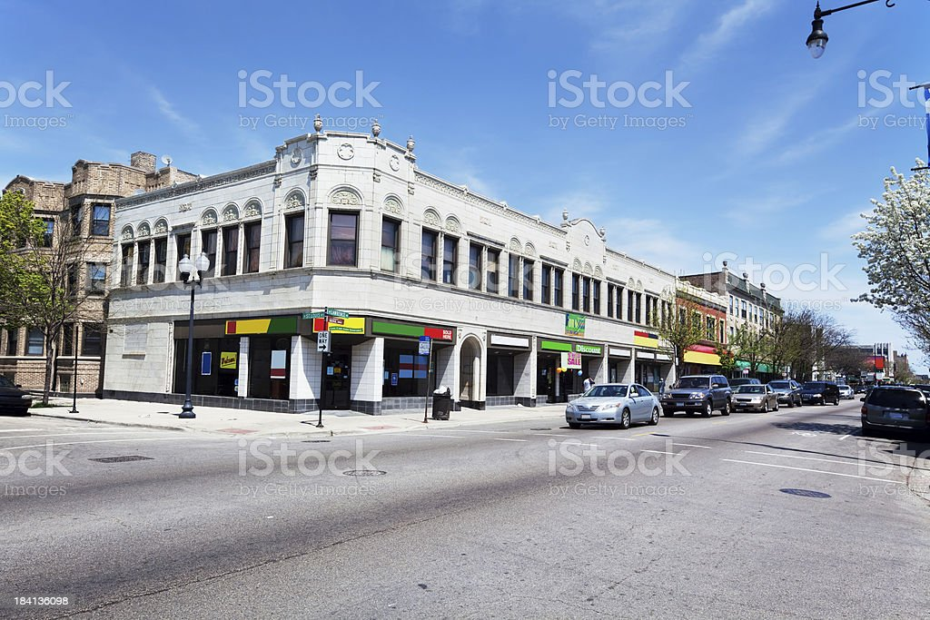 Old Terra Cotta Shop Buildings in Albany Park, Chicago royalty-free stock photo