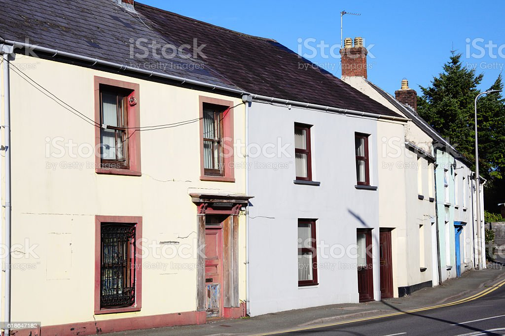 Old terraced houses in Camarthen, Wales stock photo