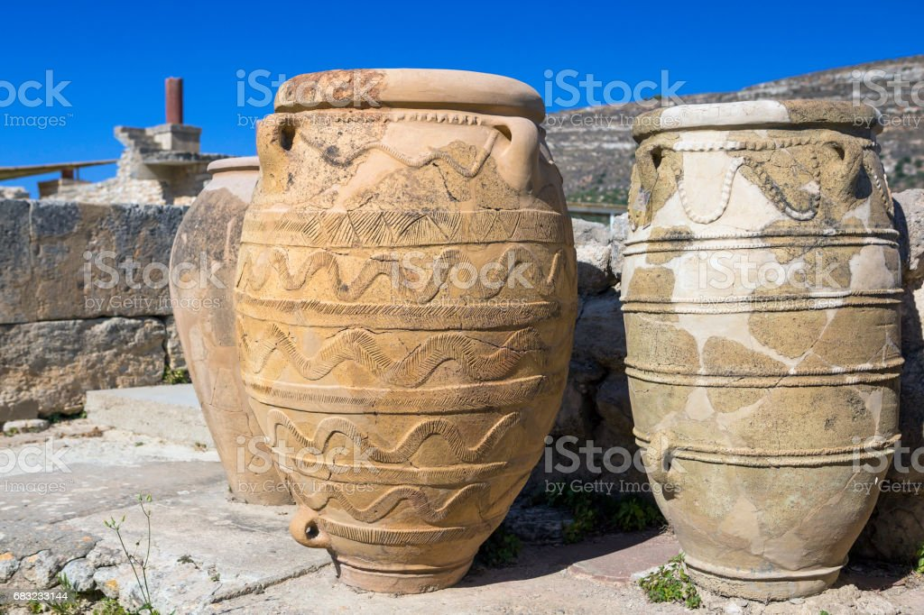 Old terracotta jars in the palace of Knossos stock photo