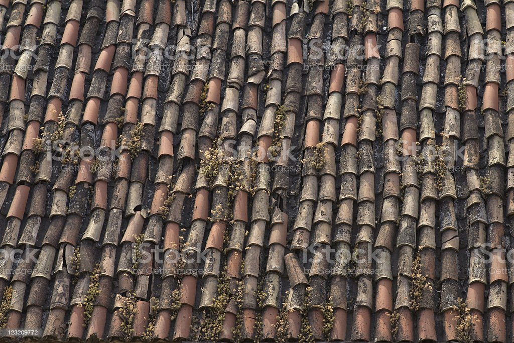 Old Terracotta Roof Tiles Stock Photo - Download Image Now
