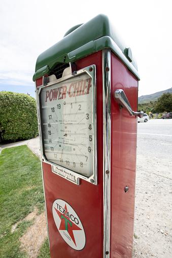 Cardrona, New Zealand - December 26, 2018. Old Texaco gas pump in Cardrona on South Island, New Zealand