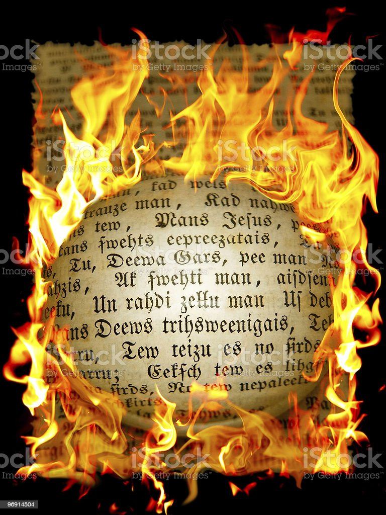 old text in flame royalty-free stock photo