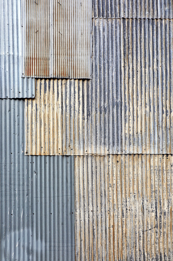 Old textured background of rusty corrugated metal surface