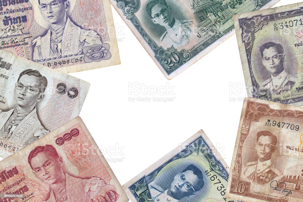 Old Thai baht currencies banknotes. stock photo
