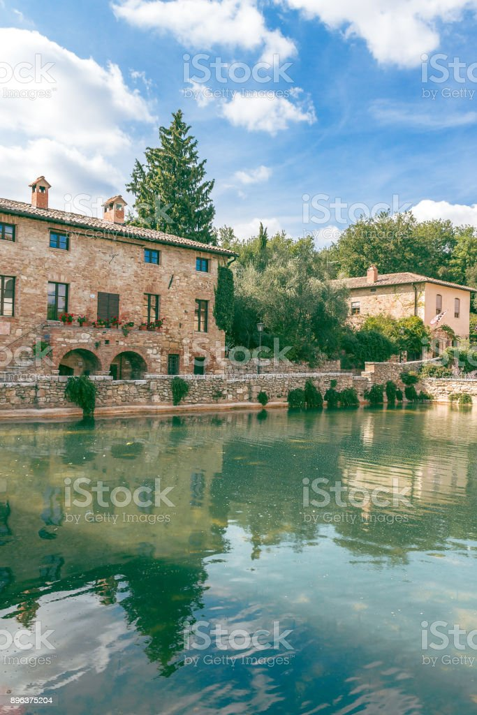 Old thermal baths in Bagno Vignoni, Tuscany, Italy stock photo