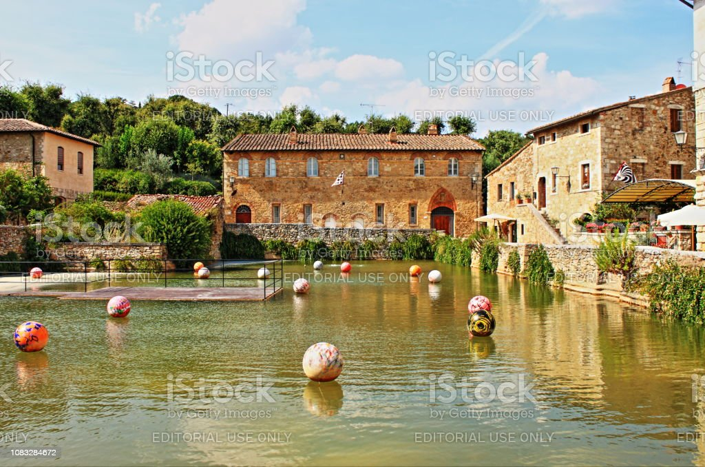 Old thermal baths in the medieval village of Bagno Vignoni stock photo
