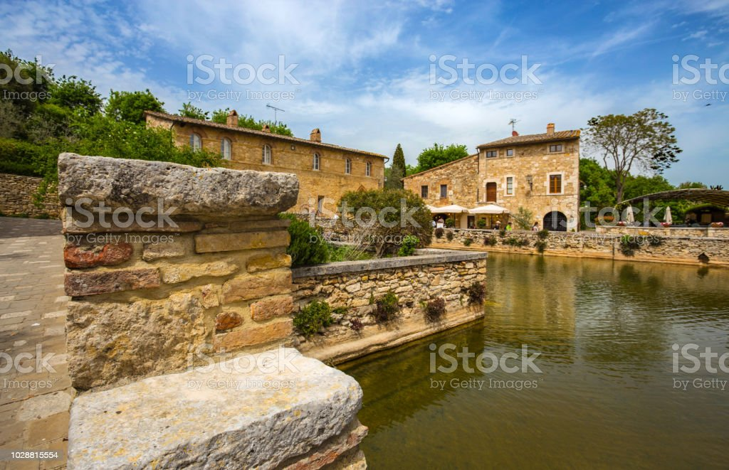 Old thermal baths in the medieval village of Bagno Vignoni, Siena province, Tuscany, Italy stock photo