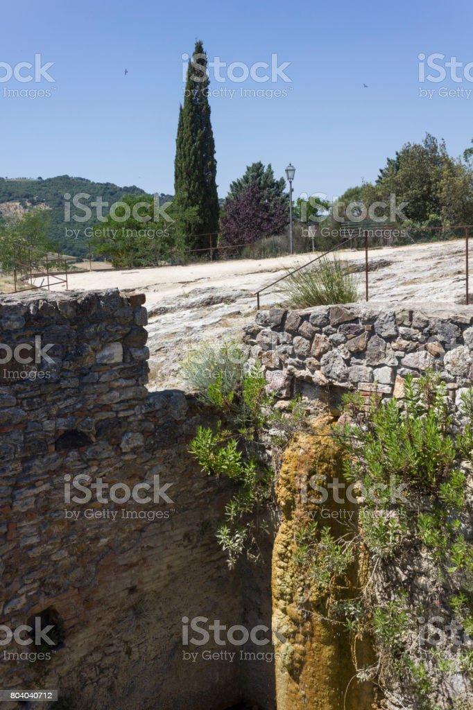 Old thermal baths of Bagno Vignoni stock photo
