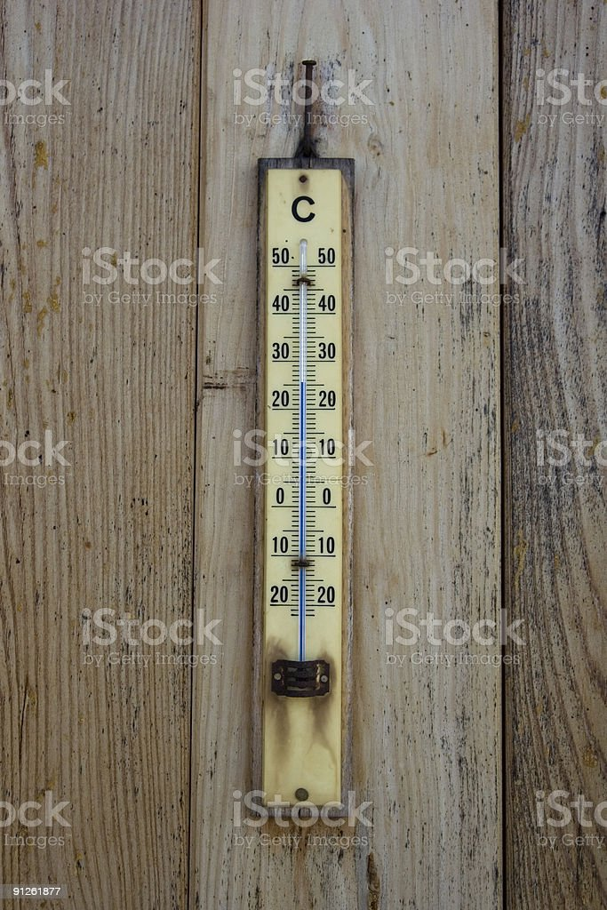 Old Thermometer Closeup on a Wood Background royalty-free stock photo