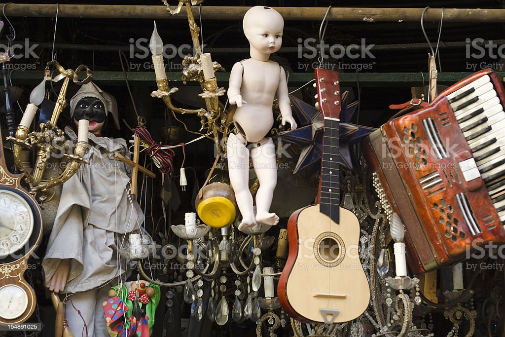 Old Things Store in Naples, Italy stock photo