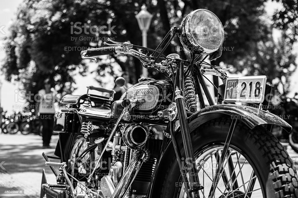 Old Thomann motorcycle on annual oldtimer car show stock photo