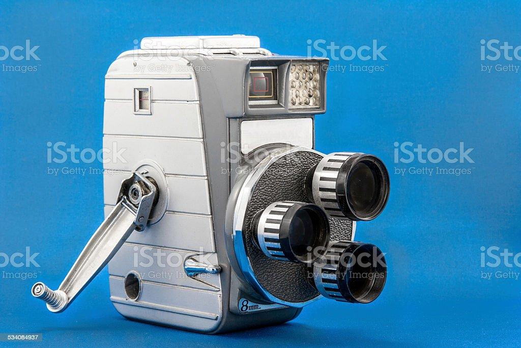 Old three-lens 8mm video camera stock photo