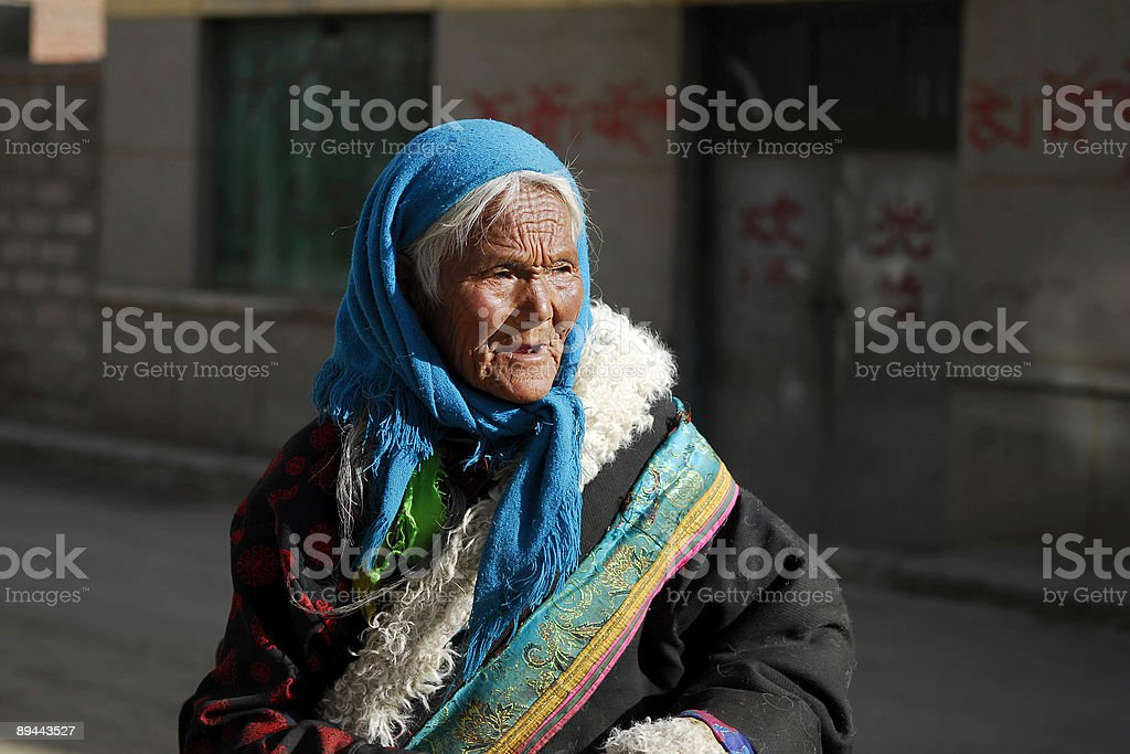 old tibetan woman royalty-free stock photo
