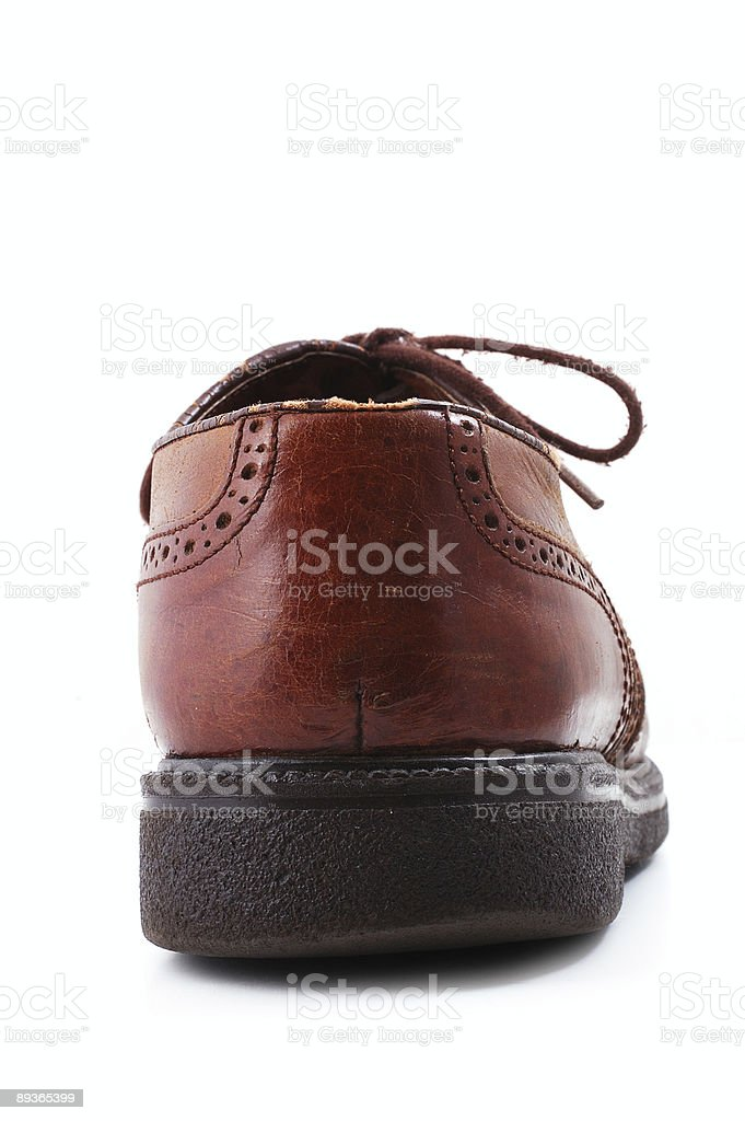 old tied emigrant shoe back royalty-free stock photo