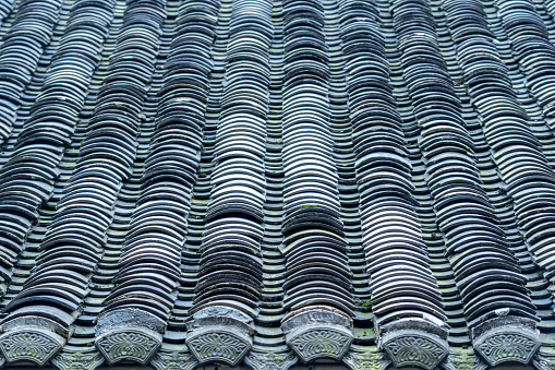 Old tile roof of the old house with moss