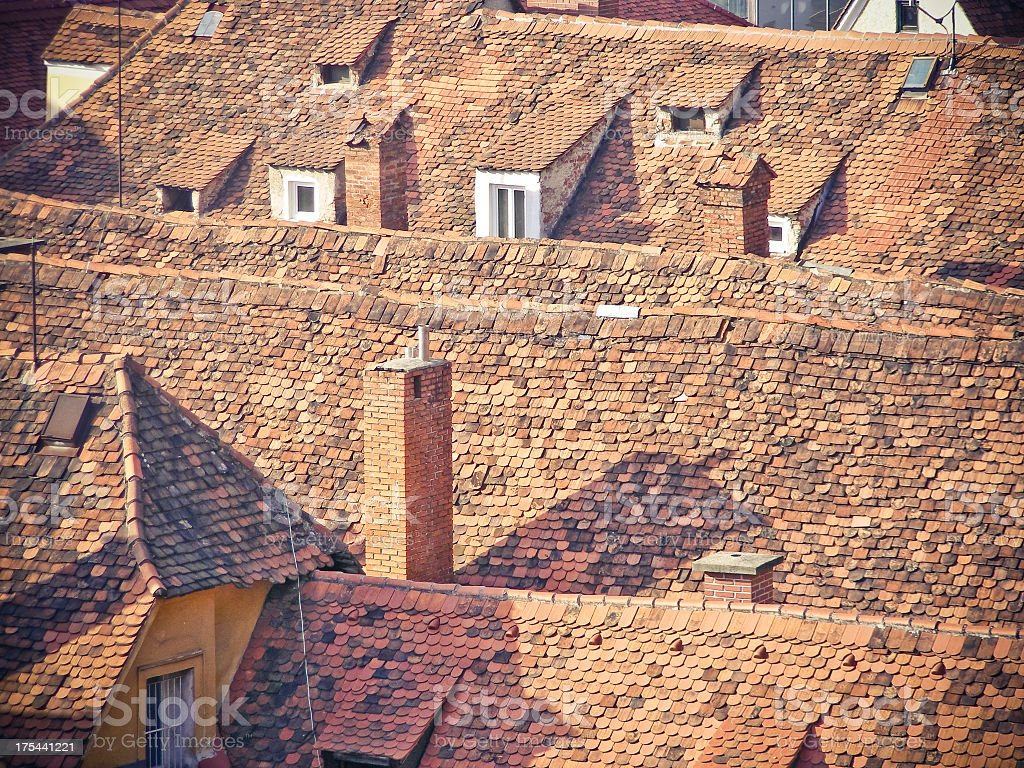 old tile roofs stock photo
