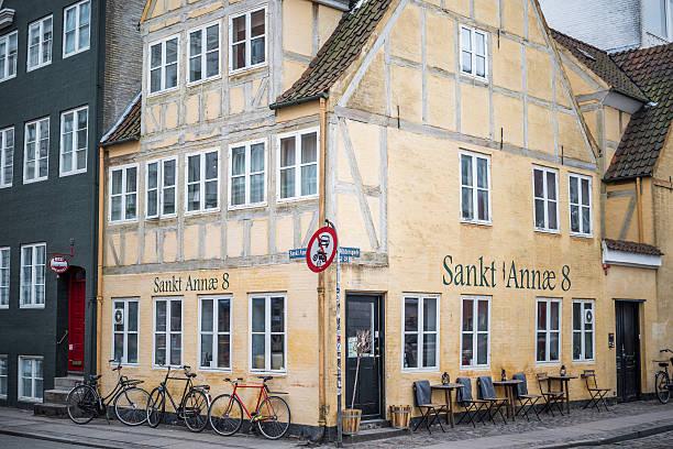 Old timbered house in Christianshavn, Copenhagen, Denmark stock photo
