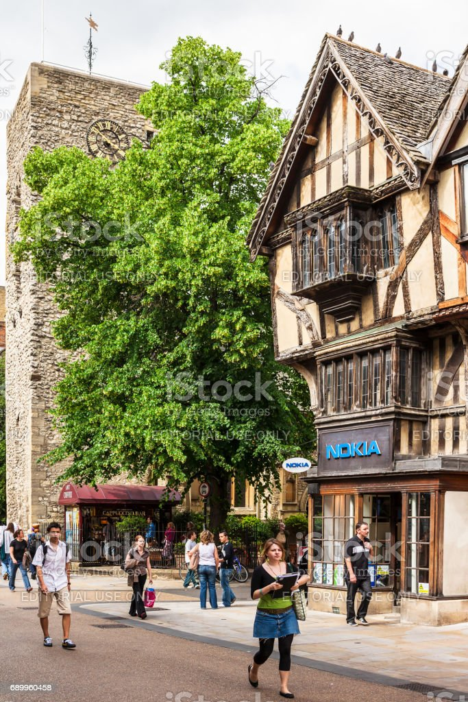 Old timbered house with St Michael at the North Gate. Oxford, England stock photo