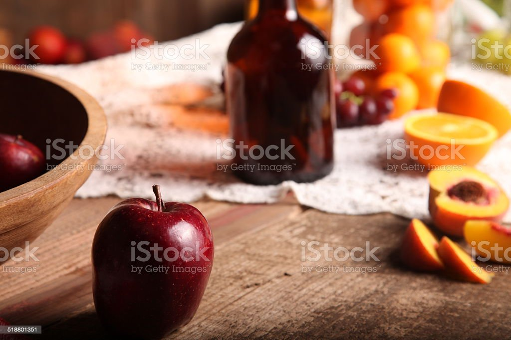Old Time Fruit Table Setting stock photo