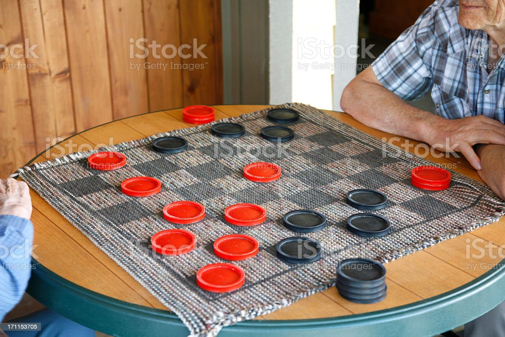 Old Time Senior Checkers royalty-free stock photo
