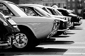 some old timer cars in black and white. Vintage, classic.