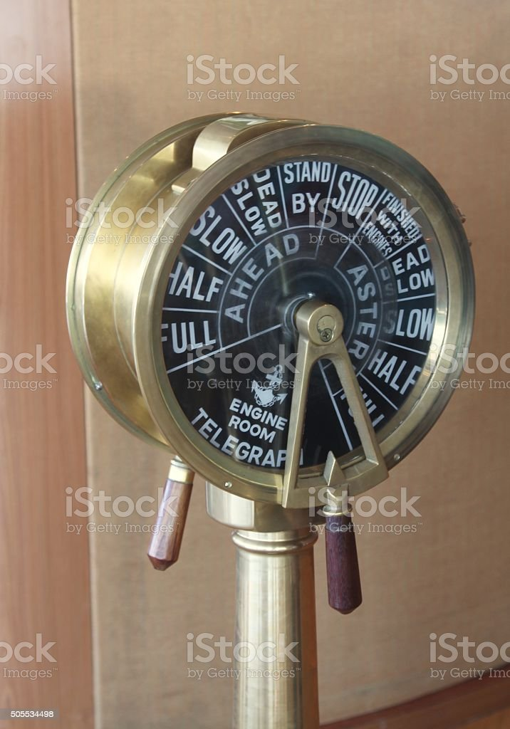 Engine Room Telegraph: Old Times Ship Engine Room Telegraph Stock Photo