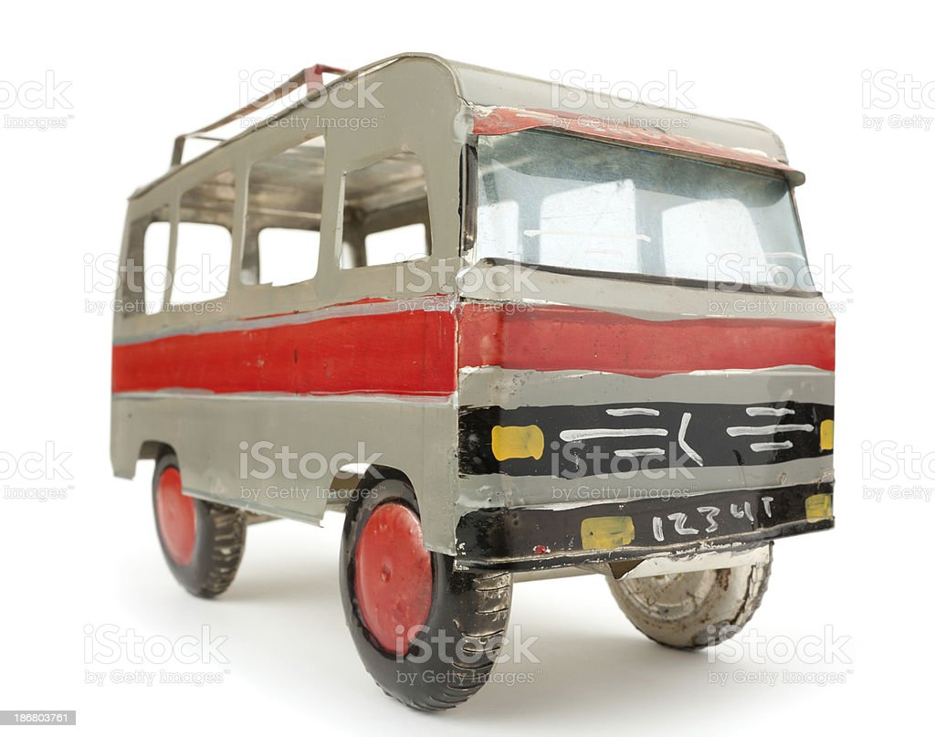 Old tin toy scale model of a minibus royalty-free stock photo