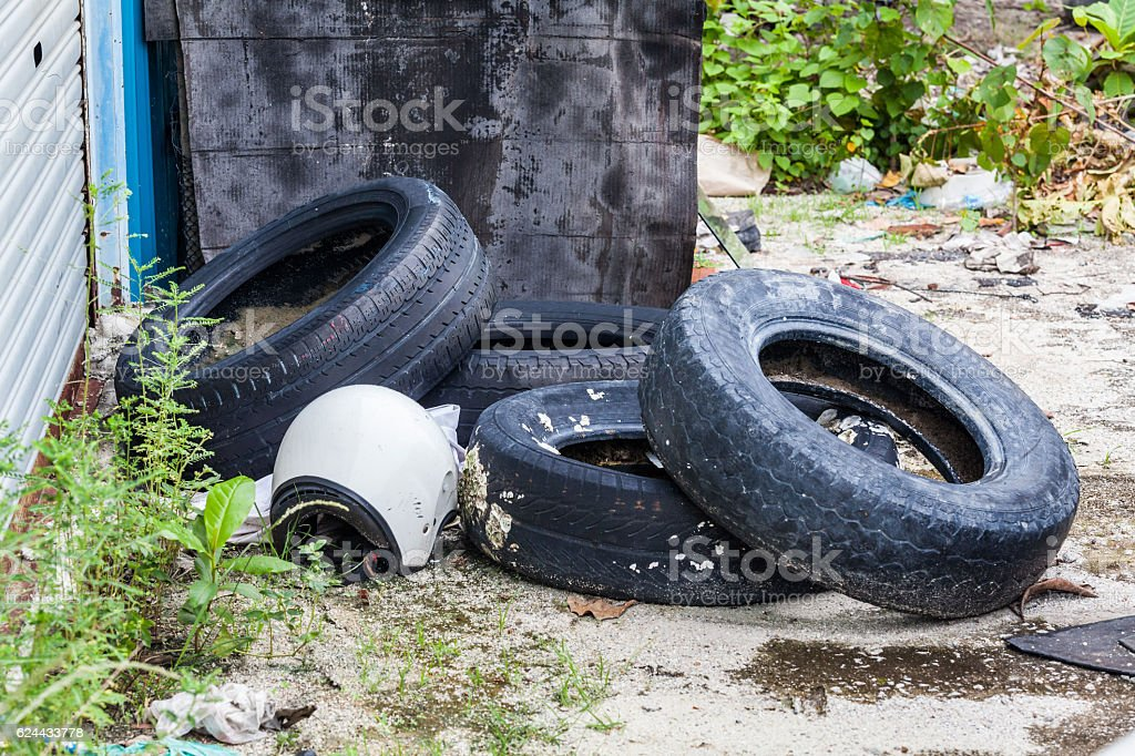Old tire indicating breeding ground for mosquito stock photo