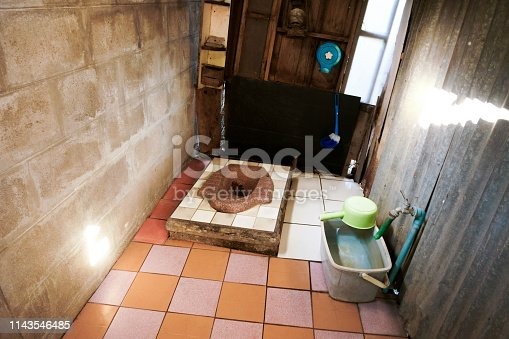 Old toilet, squat type toilet. Another type of toilet in asia