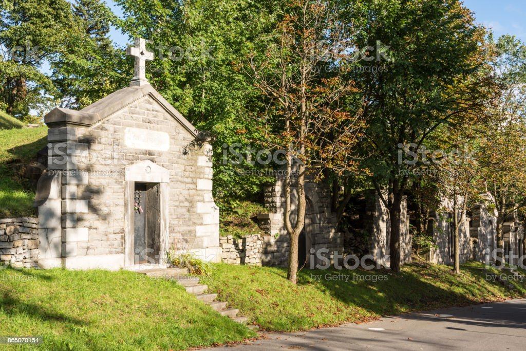 Old tombs in cemetery in Montreal, Canada stock photo