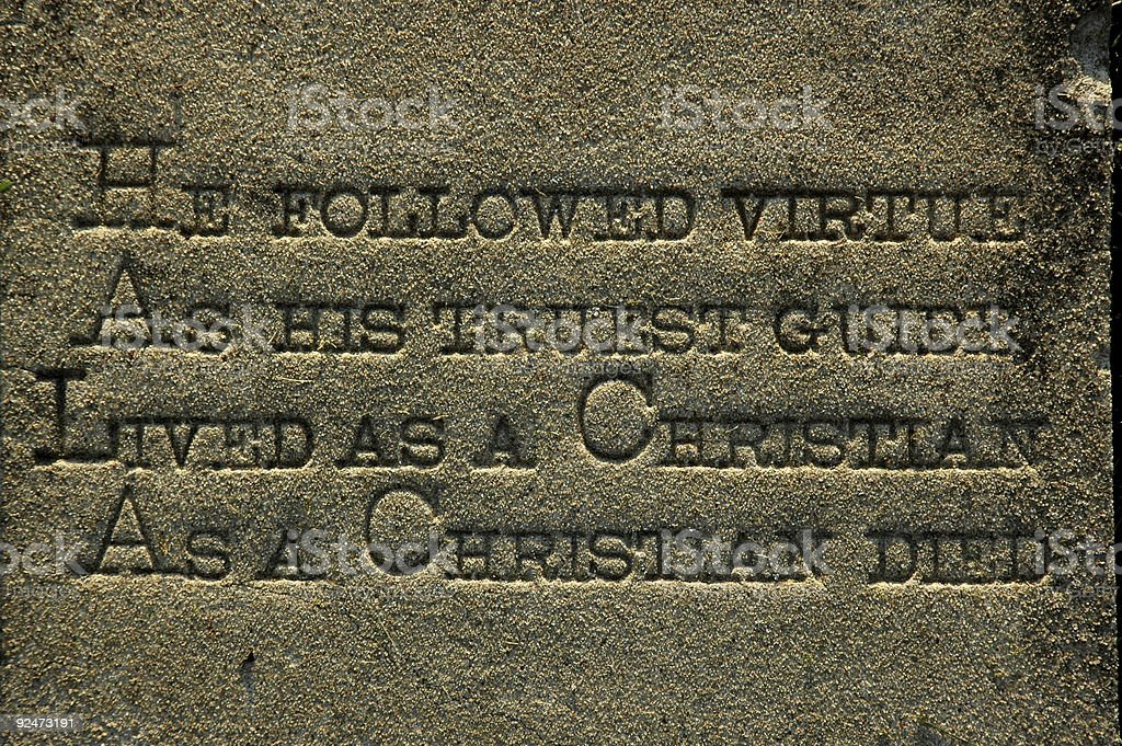 Old Tombstone Engraving royalty-free stock photo