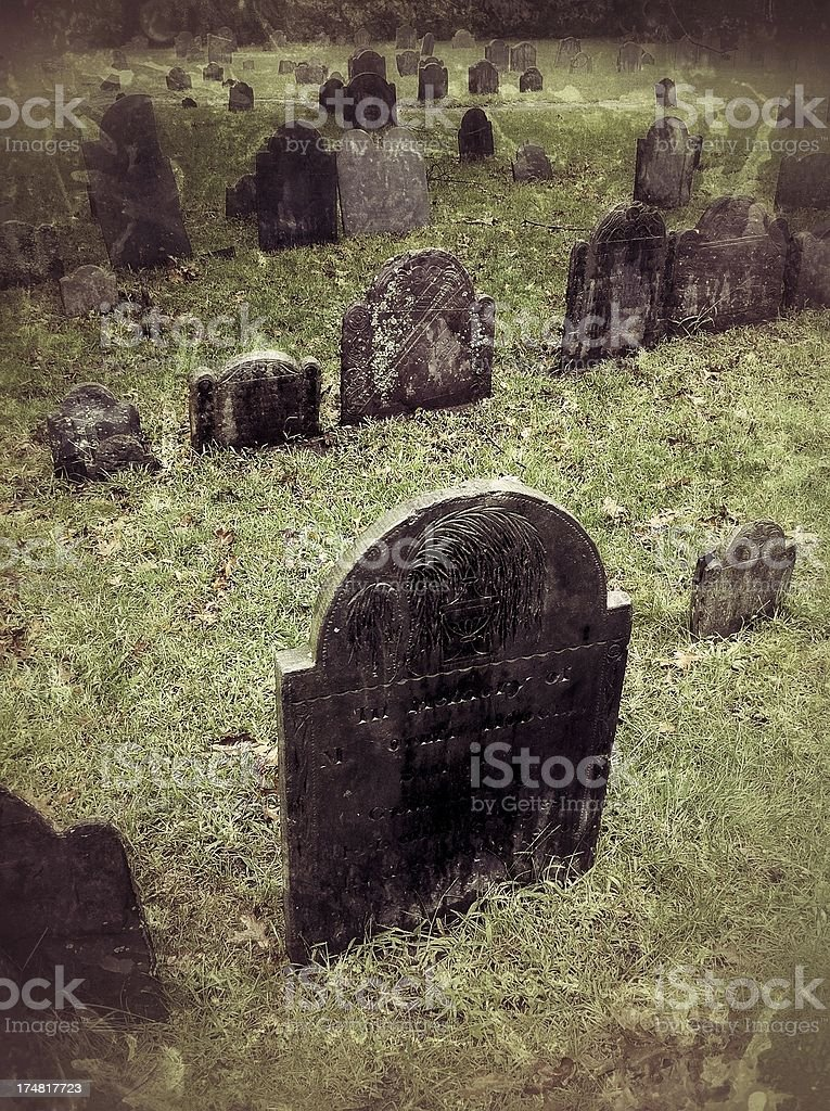 Old Tombstones in Historic Boston Graveyard royalty-free stock photo