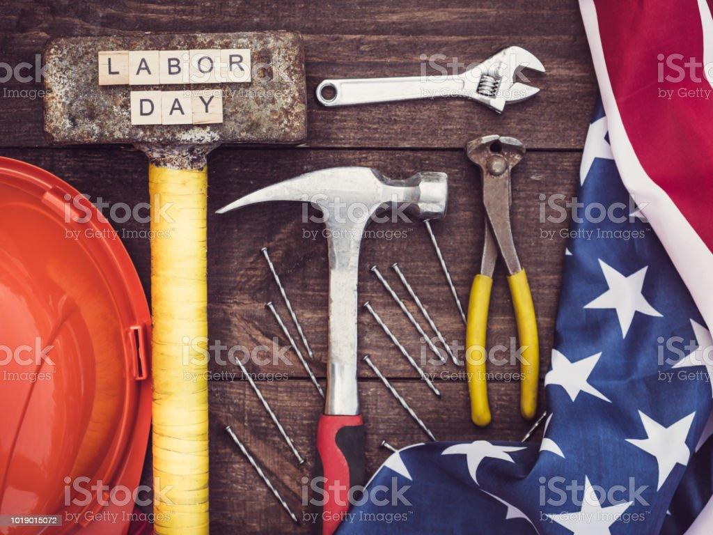 Old tools and wooden letters stock photo