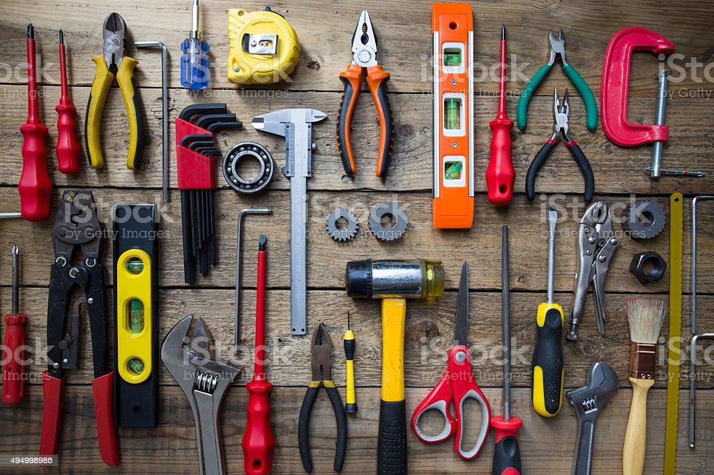 Old tools auf einem Holztisch – Foto