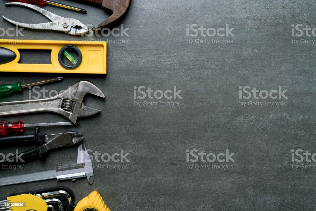 Old tools on black background stock photo