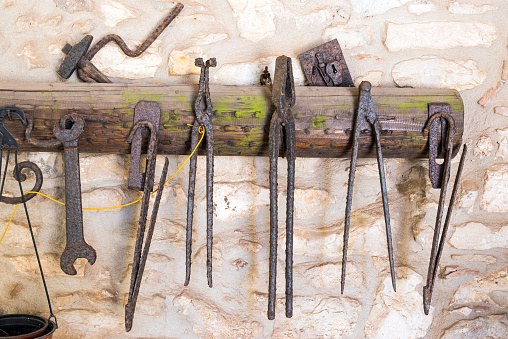 Old tools seen in an old workshop