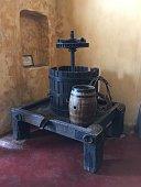 Old tools used in wine making.                              Santorini/Greece  05/16/2019
