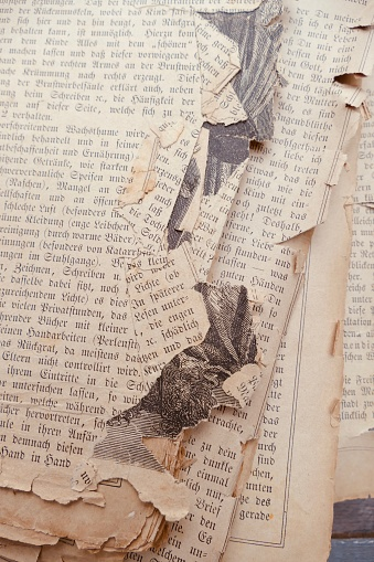 Old damaged book page from 19. th century