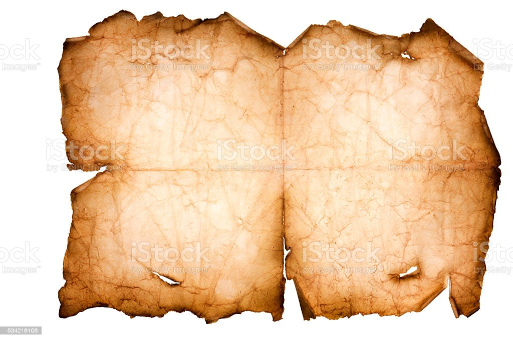 Old Torn Paper Scroll Isolated on a White Background stock photo