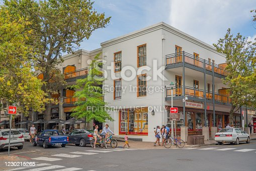 istock Old tourist Street in small Town Stellenbosch 1230215265